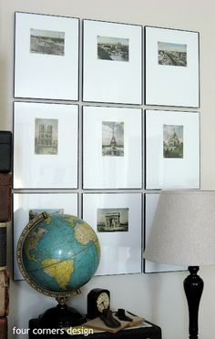Great tips on how to hang artwork. I'd like to frame my vintage postcards individually like this.