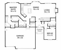 1387 sq ft The Ranch is efficient and affordable, with a more open floor plan, lower pitched roof, and attached garages. 2 Bedroom House Plans, Basement House Plans, Ranch House Plans, Dream House Plans, Small House Plans, House Floor Plans, Walkout Basement, Basement Ideas, House Architecture