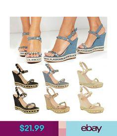 2cf06c491d08 Heels Womens Ladies Studded Wedge Sandals Strappy Platforms Denim Summer  Shoes Size  ebay  Fashion