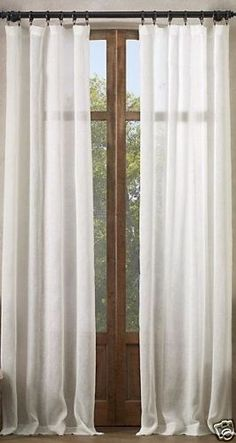 2-Restoration-Hardware-Belgian-Linen-Sheer-Tonal-Stripe-Drapes-100x84-034-O-WHITE