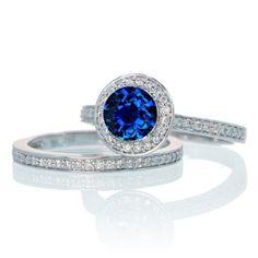 2 Carat Unique Classic Halo Round Sapphire and Diamond Bridal Ring Set on 10k White Gold
