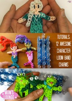 Tutorials: 12 Awesome Character Loom Band Charms   #mumslounge #loombands #loombands #frozen #elsa #anna   Check out all 12 characters here:http://www.mumslounge.com.au/entertainment/kids-activities/2570-tutorials-12-awesome-character-loom-band-charms.html