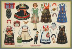 Norske Bunader (Norwegian National Costumes) paper doll [National Museum of Play, Object ID Norwegian Christmas, Scandinavian Christmas, Paper Toys, Paper Crafts, Folk Costume, Costumes, Up Book, Vintage Paper Dolls, Online Collections