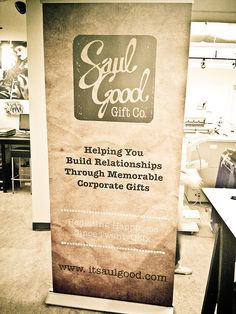 Saul Good Gift Co. Best Banner Design, Pop Up Banner, Retractable Banner, Display Banners, Church Stage, Corporate Gifts, How To Memorize Things, Best Gifts, Wall