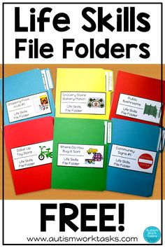 Try these FREE life skills file folders to practice community skills with your special education students. Includes six file folder activities for independent work stations, centers or life skills practice. Simply enter your name and email for access! Life Skills Lessons, Life Skills Activities, Life Skills Classroom, Coping Skills, Preschool Life Skills, Shape Activities, Teaching Life Skills, Special Education Activities, Special Education Classroom