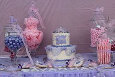 Candy buffet at a Sofia the First birthday party! See more party ideas at CatchMyParty.com!