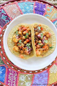 Chickpea Cauliflower Tacos with Lentil Mung Bean Tortillas. Vegan Gluten-free Grain-free Recipe - Vegan Richa