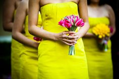 neon yellow bridesmaid dresses. Sorry richelle this is what dean thinks would look good. Hahaha.