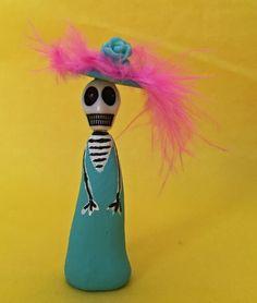 Tiny Clay Doll- Day of the Dead- Dia De Los Muertos Small Tiny Miniature Clay Catrina Skeleton Skelly Figurine Doll