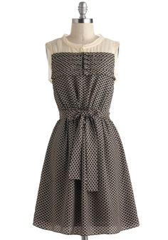 Flutter on By Dress - Black, Tan / Cream, Print, Casual, A-line, Sleeveless, Mid-length, Belted, Sheer