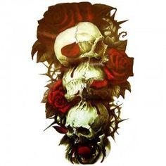 Tatouage-ephemere-crâne-et-roses