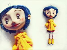 Coraline clay finished work by NobuHappySpooky Polymer Clay Figures, Cute Polymer Clay, Polymer Clay Dolls, Polymer Clay Projects, Polymer Clay Charms, Polymer Clay Jewelry, Clay Crafts, Coraline, Biscuit