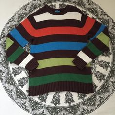Striped sweater Rainbow big striped sweater. It's a kids large so it fits like a small but very soft material. Vintage Sweaters Crew & Scoop Necks