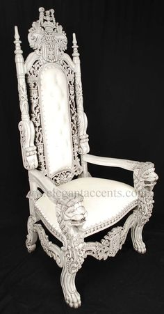 6 carved mahogany king lion gothic throne chair antique white finish and velour throne chairfurniture chairsgarden
