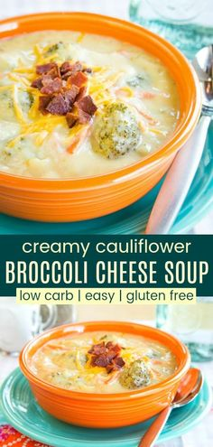 Cauliflower Broccoli Cheese Soup - just as creamy and cheesy as a classic broccoli cheddar soup recipe but extra veggies make it more healthy, plus gluten free and low carb too. Cauliflower And Broccoli Cheese, Creamy Cauliflower, Broccoli Cheddar, Cauliflower Salad, Cauliflower Recipes, Ketogenic Recipes, Healthy Recipes, Keto Recipes, Protein Recipes