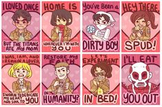 cool attack on titan valentines cards - Google Search
