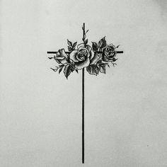 flowers on the cross tatoo Thorn Tattoo, 16 Tattoo, Tattoo Son, Shape Tattoo, Back Tattoo, Tattoo Quotes, Devil Tattoo, Tattoo Tree, Cross Tattoo On Wrist