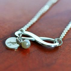 Infinity Necklace with Engraved Charm in Sterling Silver