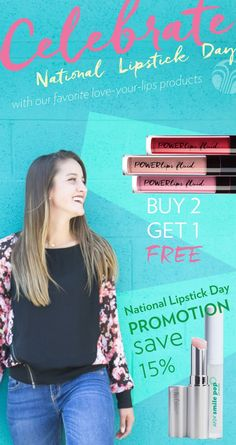 It's National Lipstick Day on July And in recognition of this annual celebration, PowerLips is offering a buy 2 get 1 free promotion. See link for how to participate! National Lipstick Day, Got 1, Your Lips, Love You, Nu Skin, Celebrities, Promotion, Free, Beauty