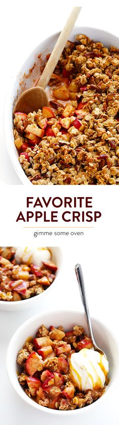 This Easy Apple Crisp recipe is filled with warm cinnamon apples, topped with a crunchy oatmeal topping, and it's absolutely delicious. It's the perfect fall dessert! | gimmesmeoven.com #glutenfree #vegan