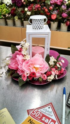 Lantern and peony arrangement