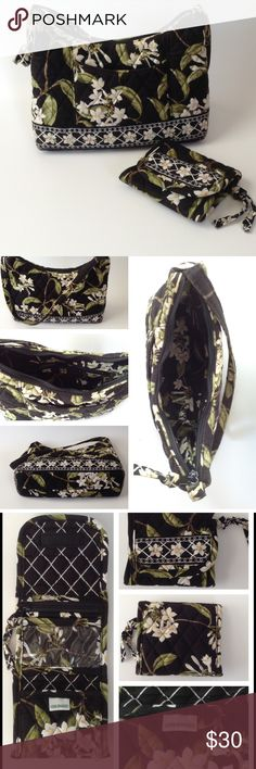"""{Vera Bradley} Jasmine Handbag and Pocket Wallet This beautiful Jasmine print handbag and wallet are in EUC. The handbag has a zippered outside closure with a zippered pouch inside. The wallet is a trifold design with a zippered coin pouch, an ID window, and Velcro closure. The wallet has minimal to no signs of wear. The handbag has wear on each of the bottom corners of the bag (see picture 4). Handbag size: 9"""" X 7"""" X 3"""". Handle drop: 10"""". Wallet size: 4.5"""" x 4"""". Vera Bradley Bags Mini Bags"""