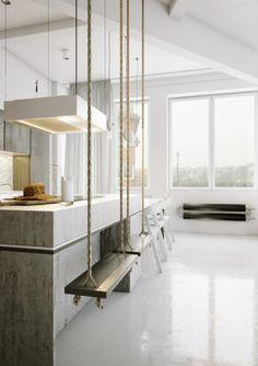 Schaukeln statt sitzen ❤ Die spielerische Alternative zu unbequemen Stehhockern. Küche neu denken ❤ #schaukel #küche #style