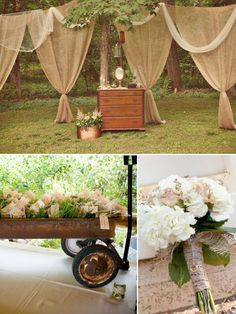 Sweet rustic wedding bliss!!! Xo wedding themes, party backdrops, wedding ideas, rustic weddings, burlap curtains, rustic wedding decorations, old wagons, rustic decorations, country rustic