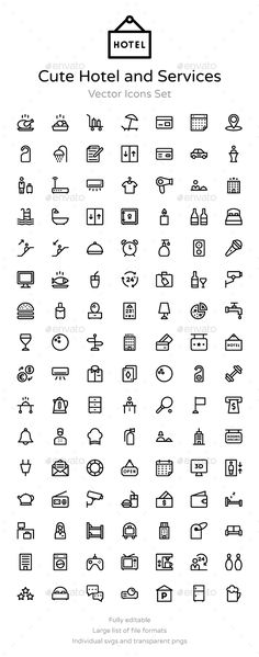 100+ Cute Hotel and Services Icons