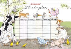 Stundenplan Bauernhoftiere Krima und Isa 2015  First day of School scheudle, Farm animals