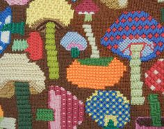 Vintage Needlepoint Pillow / 1970s Wool Mushroom by zestvintage