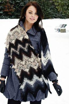 Fleece Shawl designed by Kieran Foley. Knit with 2 colors of Zauberball Sock. Free pattern.