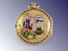 Pocket watch: Unusual Rokoko gold/enamel verge watch ca. 1760, Baillon Paris, royal watchmakerca. Ø44mm, 18K gold, high-grade case with 5-pa...