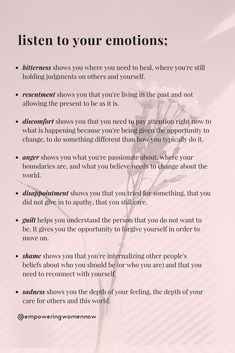 Psychological Tips For Love - The Importance of Listening To Your Emotions – Empowering Women Now - Vie Motivation, Self Care Activities, Therapy Activities, Summer Activities, Cbt Therapy, Therapy Journal, Calming Activities, Therapy Quotes, Movement Activities