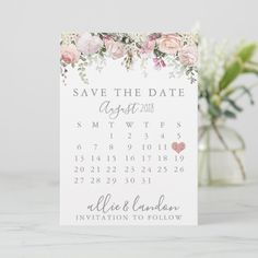 Shop Spring Floral Save The Date Calendar created by PrintedPaperDesigns. Purple Save The Dates, Floral Save The Dates, Rustic Wedding Save The Dates, Modern Save The Dates, Save The Date Karten, Save The Date Cards, Zazzle Invitations, Wedding Invitations, Invitations