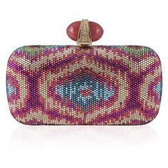 Judith Leiber Couture Ubud Clutch (411751901) ($2,397) ❤ liked on Polyvore featuring bags, handbags, clutches, champagne champagne multi, hand bags, cherry purse, champagne purse, champagne evening bag and ikat handbag