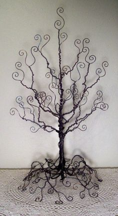 Wire tree: I´ll make one like this for Christmas  decor with big buttons, felt, pompoms, ... in  coordinating beauty colours.