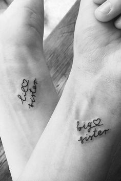Pretty Small Simple meaningful tattoos for Women. Temporary and Permanent awesome Tattoo ideas for women. look unique with these small meaningful tattoos. Sibling Tattoos, Bff Tattoos, Best Friend Tattoos, Mini Tattoos, Body Art Tattoos, Word Tattoos, Tattos, Tattoos Motive, Gangsta Tattoos