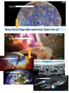 Another view of the Bing homepage Star Trek experience.