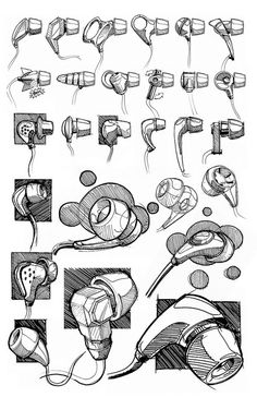 ideation sketches of in-ears speakers. Quick industrial design sketches/drawings | Black felt-tip pen