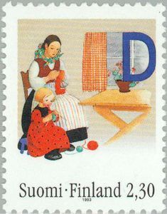 Stamp: Mother and daugther knitting (Finland) Birth Day of Martta Wendelin) Mi:FI 1207 Vintage Travel Posters, Vintage Postcards, Postage Stamp Art, Mccalls Patterns, Mail Art, Stamp Collecting, My Stamp, Craft Work, Fiber Art