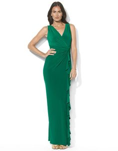 LAUREN RALPH LAUREN Sleeveless Knotted Floor Length Matte Jersey Gown - MALACHITE - http://1tagdeals.com/fashion/