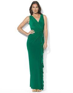 LAUREN RALPH LAUREN Sleeveless Knotted Floor Length Matte Jersey Gown - MALACHITE - http://1tagdeals.com/fashion/