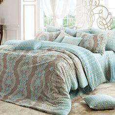 Tiffany Blue & Cocoa Microfiber Full Size Duvet Cover Set