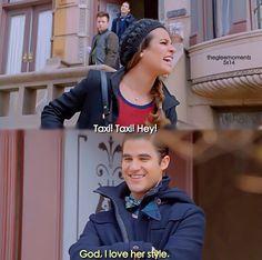 Rachel yelling at the taxi. Hahaha