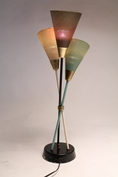PIERCED SHADE table lamp in the manner  of Mathieu MATEGOT mid century 1950 era