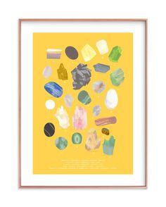 """ABC Rocks"" - Mixed Media Limited Edition Art Print by Baumbirdy. Art Wall Kids, Art For Kids, Mineral Chart, Rock Collection, Custom Art, Kids Decor, Wall Art Prints, Gallery Wall, Rocks"