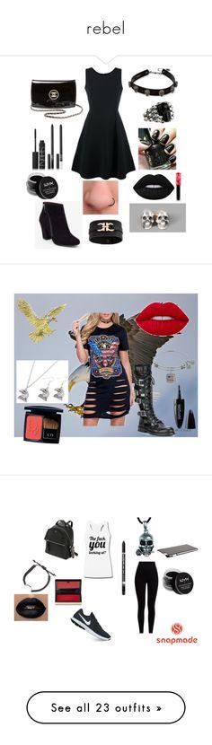 """rebel"" by mayamaya269 ❤ liked on Polyvore featuring Emporio Armani, BCBGeneration, King Baby Studio, Betsey Johnson, Chanel, NARS Cosmetics, NYX, Lime Crime, Ugo Cacciatori and Salvatore Ferragamo"