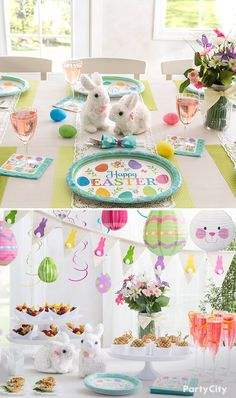 Create the perfect Easter lunch or brunch with spring tableware, including plates and napkins! Offer guests something fizzy in champagne flutes and wine glasses, then serve up some appetizers and other finger foods! Complete the look with colorful décor like hanging paper lanterns or bunny banners!
