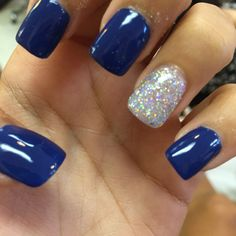 Royal blue acrylic nails with silver latest nail designs, gel nail designs, almond acrylic Royal Blue Nails, Dark Blue Nails, Black Nail, Royal Gel, Blue And Silver Nails, Maroon Nails, Rounded Acrylic Nails, Blue Acrylic Nails, Blue Nail Designs